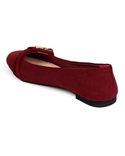 Qupid FF08 Women Faux Suede Round Toe Loop Band Ballet Flat - Burgundy zhYjZHvwoY