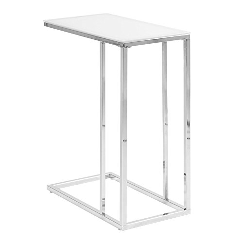 eHomeProducts Contemporary Snack Table with Glass Top, Chrome and Smoked - Table Side Glass Rectangular