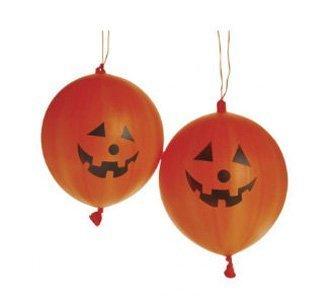 Dozen Halloween Rubber Jack-O-Lantern Pumpkin Orange Punch Balls with Handles