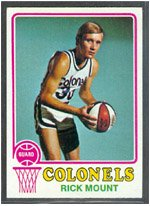 1973 Topps Regular (Basketball) card#192 Rick Mount of the Kentucky Colonels Grade Excellent