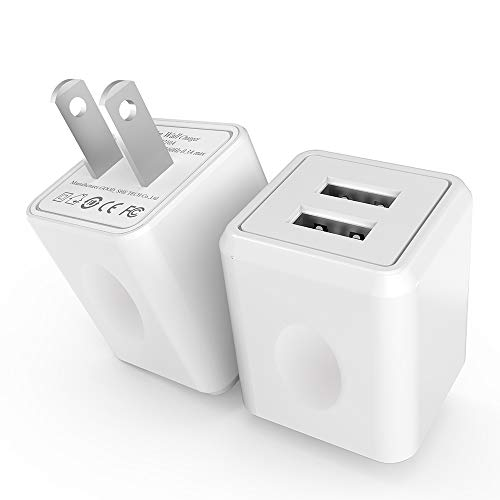Wall Charger, [2-Pack] 2.4Amp Taymanso 2-Port USB Wall Charger Home Travel Plug Power Adapter for iPhone X 8/7/6 Plus SE/5S/4S,iPad, iPod, Samsung Galaxy S7 S6, HTC, LG, Table, Motorola and ()