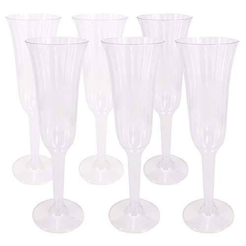 Benail 60 Pack 5.5 oz Clear Plastic Champagne Cups - 2 Pieces - Disposable Wedding Party Cocktail Cups (60 Champagne)