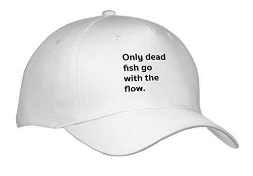 Tory Anne Collections Quotes – ONLY DEAD FISH GO WITH THE FLOW. – Caps – Adult Baseball Cap (cap_237010_1)