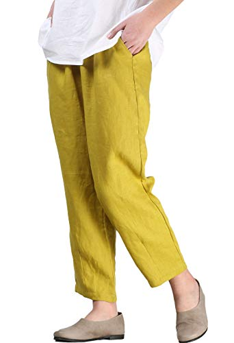 Ankle Pants Yellow - Mordenmiss Women's Linen Ankle Pants Capris Cropped Tapered Trousers with Pockets (M,Yellow)