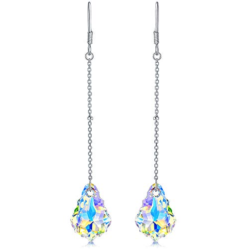 DESIMTION Sterling Silver Baroque Drop Dangling Earrings for Women with Aurora Borealis Swarovski Crystals