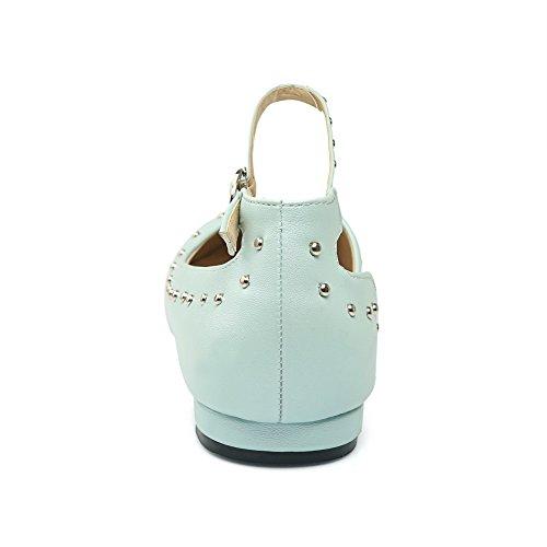 BalaMasa Ladies Buckle Grommets Pointed-Toe Urethane Mary Jane Flats Blue GtXnuUk5