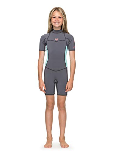 Roxy Girls 2 2Mm Syncro Series - Short Sleeve Back Zip Flt Springsuit -  Girls Deep Grey Glicer Blue 14G b94d338dc
