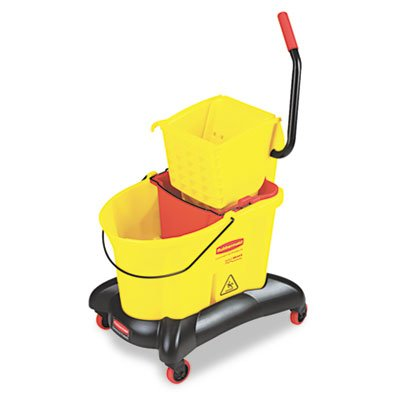 Wavebrake 35-Qt Dual Water Side Press Mop Bucket amp; Wringer, Yellow by 6COU