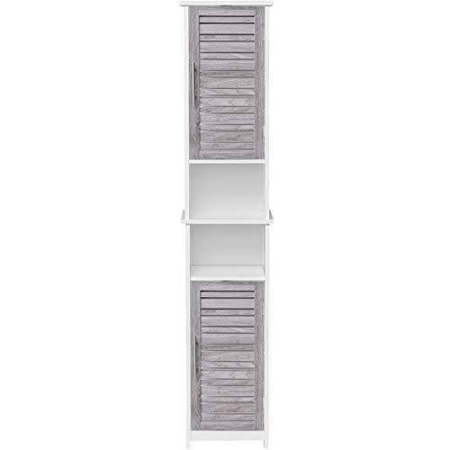 EVIDECO 9901313-9951254 Custom DIY Bathroom Tower Linen Cabinet-2 Doors-Chrome Handle, White,Washed Grey