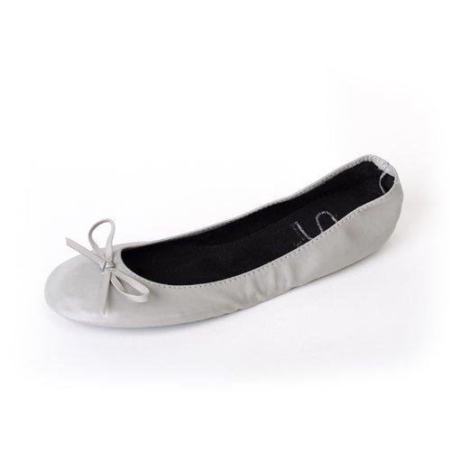 Inconnu Chaussures Ballerines femme pliables avec ruban en mat gris couleurs, disponibles dans les tailles jusqu'
