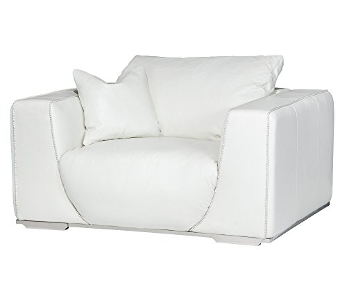 Michael Amini MB-SOPHI38-WHT-13 Sophia Leather Chair and Half in White, St.Steel