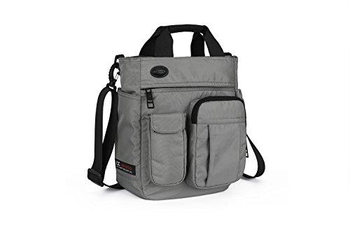 LECHAO Crossbody Messenger Bag for Men/Multifunction Shoulder Bag/Business Laptop Bag/College School Bookbag (grey)