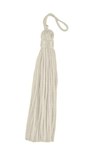 DÉCOPRO Set of 10 Ivory Chainette Tassel, 3 Inch Long with 1 Inch Loop, Basic Trim Collection Style# RT03 Color: Natural - ()