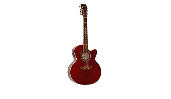 12 String Acoustic Electric Burgundy Cutaway Jumbo Guitar Combo w Gig Bag and Accesories. Guitarra Docerola 12 Cuerdas color Tinto