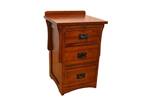 Crafters & Weavers Arts and Crafts Mission Quarter Sawn Oak Three Drawer Nightstand/Oak End - Arts Oak Crafts Table &