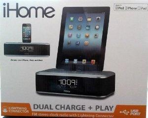 iHome iDL95 Lightning Dock Clock Radio and USB Charge/Play for iPad/iPod, iPhone 5/5S, 6/6Plus 7/7Plus , iPad Air, and iPad Mini (Silver)