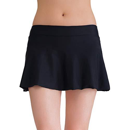 (Tournesol Women's Swim Skirt Bikini Bottoms Swimsuits Tankini Athletic Skirt with Panty Black)