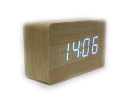 Amazon.com: Jianxiu Modern Wood Wooden LED Clock Digital Alarm Clock  Desktop Temperature Time Bamboo: Home & Kitchen