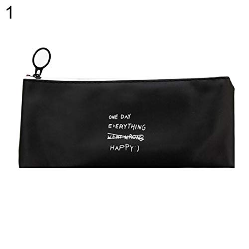 (opOpb213IL Pencil Case Kids School Supplies,Simple Letter Dots Pen Pencil Bag Faux Leather School Stationary Makeup Pouch - 1#)