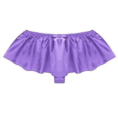 ranrann Men's Shiny Satin Ruffled Frilly Skirted G-String Thongs Underwear Sissy Pouch Panties Purple X-Large (Waist 33.0