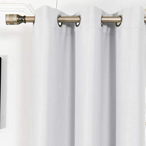 GUBOWIN White Blackout Curtains for Living Room Decor,White Curtains 84 Inches Long Thermal Insulated Solid Grommet Room Darkening Curtains 2 Panels, 52 by 84, Greyish White