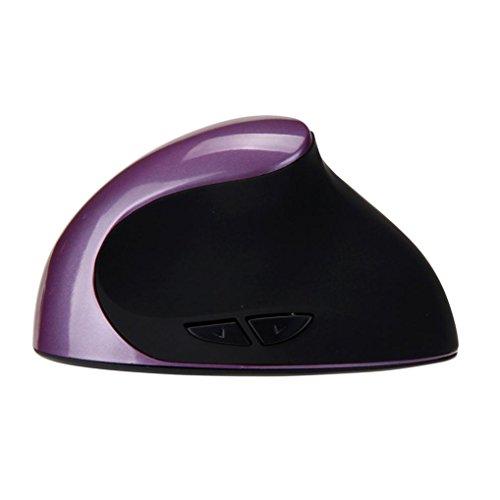 Wireless Vertical Mice, Anxinke 2.4G Wireless Ergonomic Optical USB Vertical Mouse 1600 DPI USB Mice Wireless Mouse (Purple)