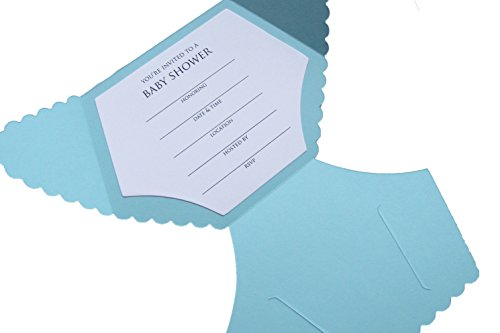 Diaper Shaped Baby Shower Invitations by MoonlightStamper (Baby Blue)