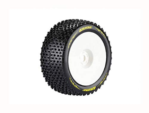 (HomyDelight Louise T-Pirate 1/8 Scale Truggy Tires Super Soft Compound / 1/2 Offset/White Rim/Mounted)