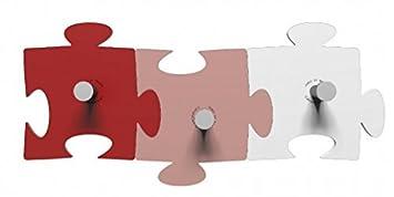 Perchero de Pared Design Puzzle 3 Elementos Rubí - Rosa ...