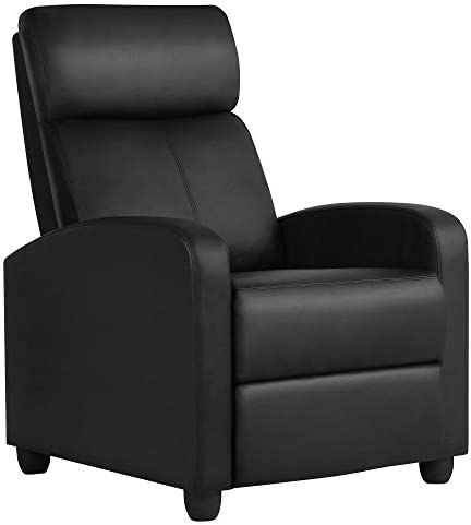 YAHEETECH Recliner Chair PU Leather Recliner Sofa Home Theater Seating Adjustable Modern Single Reclining Chair Sofa with Pocket Spring Living Room