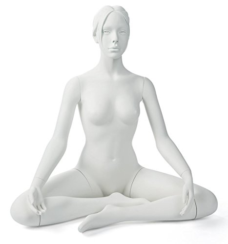 Displays2go, Female Sitting Yoga Mannequin, Fiberglass Construction – White Finish (ZFEMYOGWT3) by Displays2go