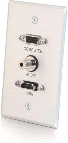C2G Single Gang HDMI, HD15, VGA y 3,5 mm placa de pared – Aluminio cepillado – Interruptor – aluminio cepillado