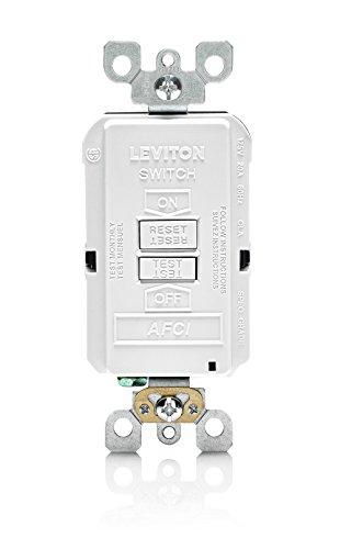 Leviton AFRBF-W 20-Amp 120-volt SmartlockPro Outlet Branch Circuit Arc Fault Circuit Interrupter Blank Face Receptacle, - Interrupters Fault Arc Circuit