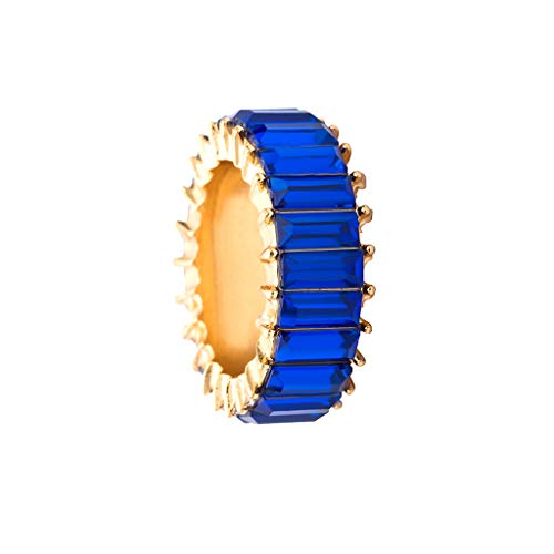 Peigen Rainbow Statement Ring Wide Band Ring Cocktail Ring Celebrity Ring Exquisite Creative Geometric Rainbow Stone Wedding Jewelry Gift