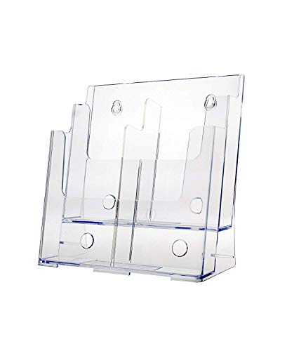 - Marketing Holders Two Tiered Literature Holder Premium Acrylic Multi Pocket Display Stand Clear 2 Tier Lot of 2