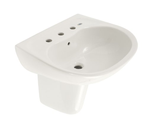 Supreme Vitreous China Lavatory - TOTO LHT241.8G#01 Supreme Lavatory and Shroud with 8-Inch Centers, Cotton White