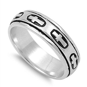 (MEN's/UNISEX 5mm .925 Sterling Silver SPINNER HOLY CROSS Band Ring 7-13)