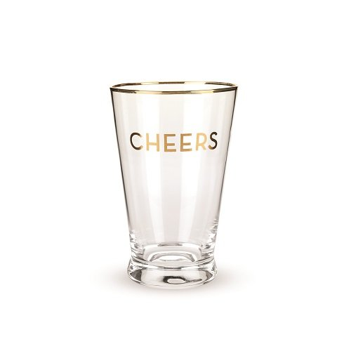 (Rustic Farmhouse Gold Rimmed Cheers Pint Glass Set by)