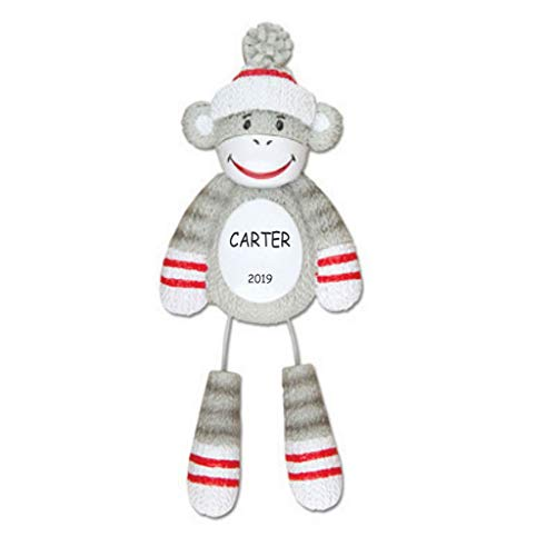 DIBSIES Personalization Station Personalized Sock Monkey Kids Christmas Ornament]()