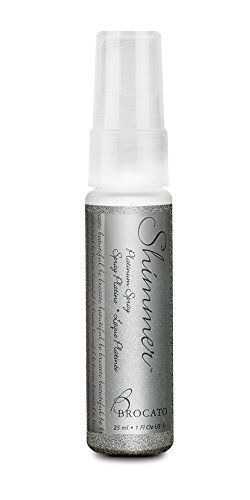 Brocato Hair and Body Shimmer Spray: Add a Subtle Sparkle to Your Hair, Skin or Clothes with Glittery Spritz Mist Spray - Sparkly Glitter Travel Hairspray Safe for Skin and Fabric - Platinum, 1 Oz