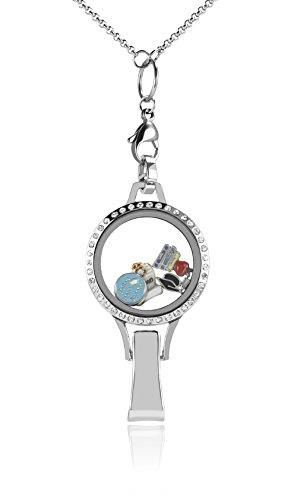 Floating Locket Lanyard with Badge Holder Included Chain and Choice of 6 Charms and 1 Plate (Silver Rhinestone) by BG247