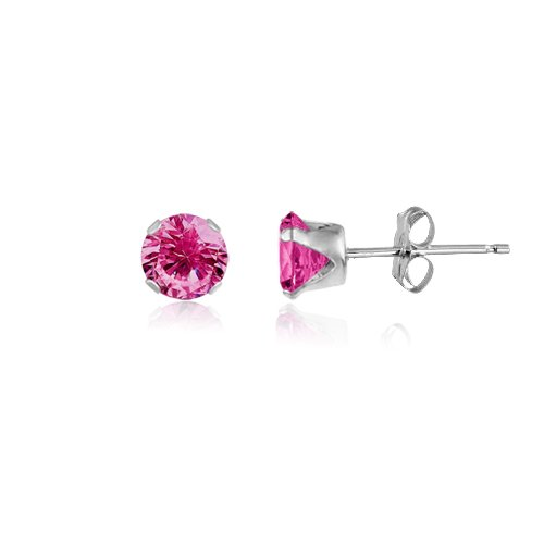 Round 5mm Sterling Silver Created Pink Sapphire Stud Earrings, Free Gift Box included (Round Pink Sapphire Ring)