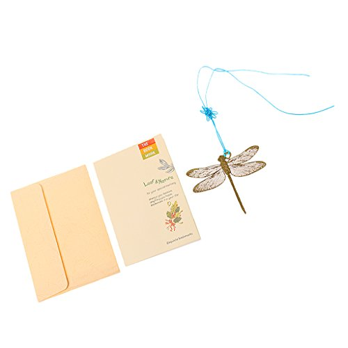 MagiDeal Creative Gold Metal Bookmark Label Stationery w/Chinese Knot Greeting Card Dragonfly