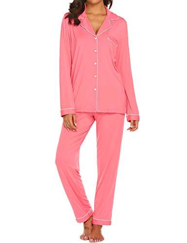 (Ekouaer Pjs Women's Long Sleeve Sleep Shirts with Long Lounge Pants Sleepwear Set (Hot Pink,S))