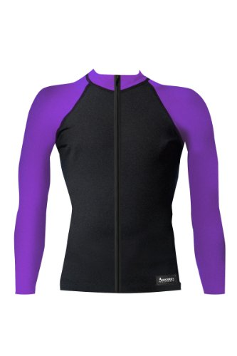 Aeroskin Nylon Long Sleeve Rash Guard with Color Accents and Front Zip (Black/Purple, XXXX-Large) ()