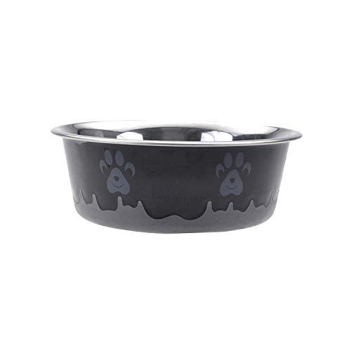 Maslow Design Series Non-Skid Paw Design Bowl, Black/Grey, 28 oz/3.5 Cup