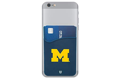 (Michigan Wolverines Adhesive Silicone Cell Phone Wallet/Card Holder for iPhone, Android, Samsung Galaxy, Most Smartphones)