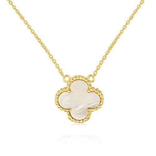 Creation Flower (Dhruvansh Creations 18k Gold Plated Brass Four Leaf Flower Pendant 16