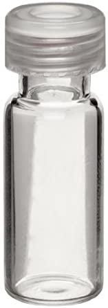 Wheaton W225150-02 Borosilicate Glass 1.8mL Vial with 0.005 Red PTFE/0.035 Silicone Lined 9mm ABC Screw Cap, Natural (Case of 100)