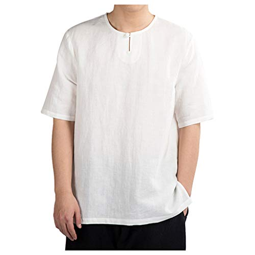 LUCAMORE Men's Solid Casual Cotton Linen T-Shirts Short Sleeve O-Neck Frog Tops Shirts White